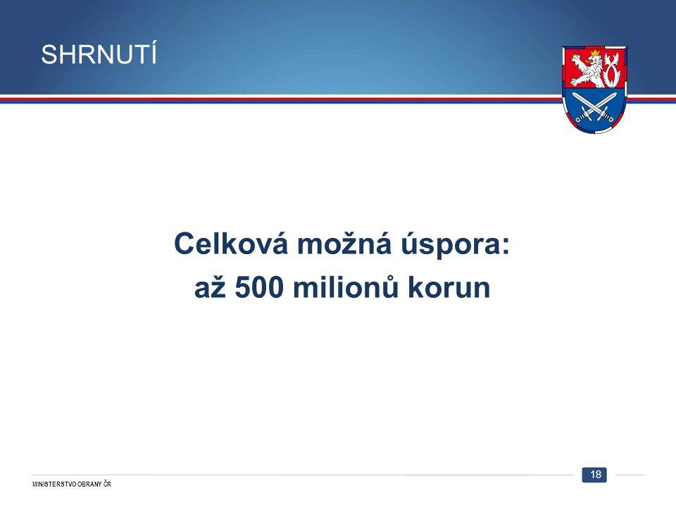 MINISTERSTVO OBRANY ČR Celková možná úspora: až 500 milionů korun 18 SHRNUTÍ