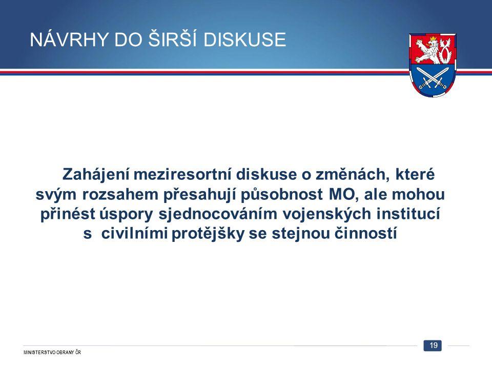 MINISTERSTVO OBRANY ČR Zahájení meziresortní diskuse o změnách, které svým rozsahem přesahují působnost MO, ale mohou přinést úspory sjednocováním voj