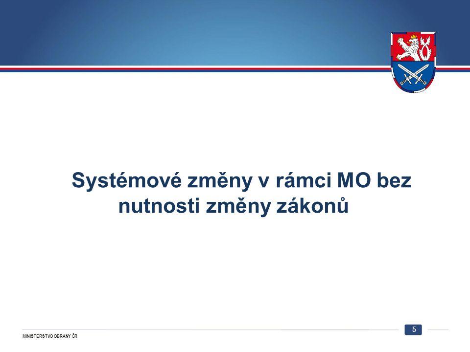 MINISTERSTVO OBRANY ČR Systémové změny v rámci MO bez nutnosti změny zákonů 5