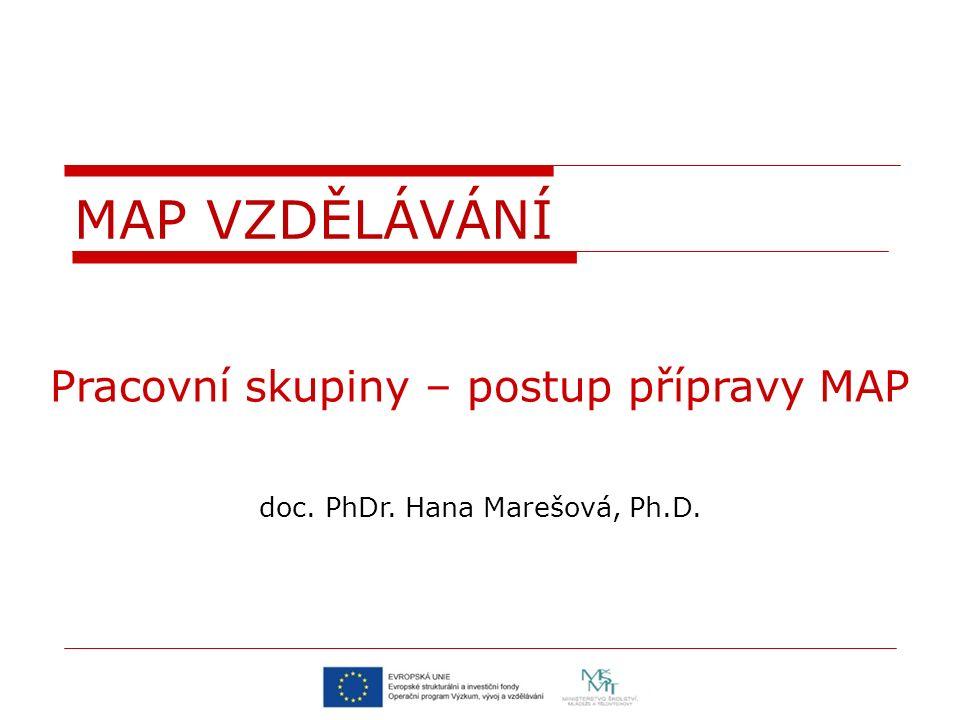 Pracovní skupiny – postup přípravy MAP doc. PhDr. Hana Marešová, Ph.D. MAP VZDĚLÁVÁNÍ