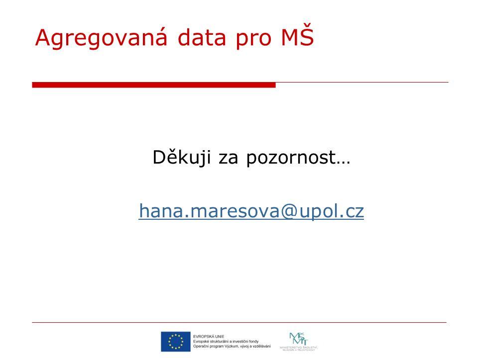 Agregovaná data pro MŠ Děkuji za pozornost… hana.maresova@upol.cz
