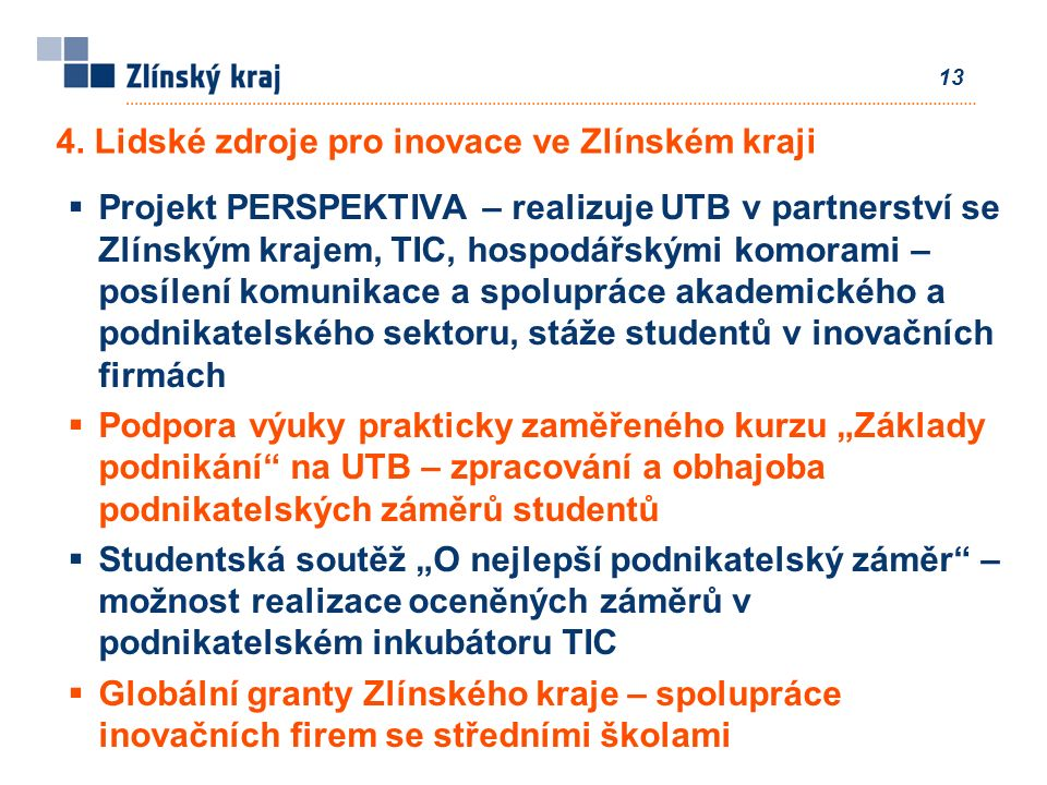 13  Projekt PERSPEKTIVA – realizuje UTB v partnerství se Zlínským krajem, TIC, hospodářskými komorami – posílení komunikace a spolupráce akademického