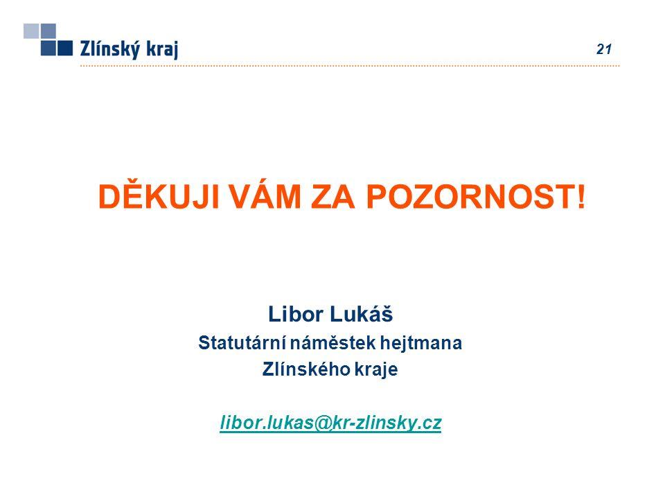 21 Libor Lukáš Statutární náměstek hejtmana Zlínského kraje libor.lukas@kr-zlinsky.cz DĚKUJI VÁM ZA POZORNOST!