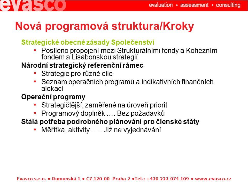Evasco s.r.o. Rumunská 1 CZ 120 00 Praha 2 Tel.: +420 222 074 109 www.evasco.cz Nová programová struktura/Kroky Strategické obecné zásady Společenství