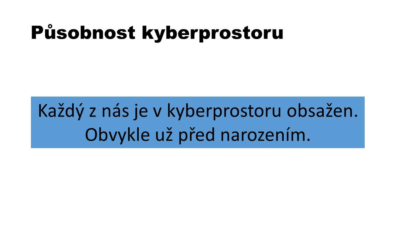 Působnost kyberprostoru Každý z nás je v kyberprostoru obsažen. Obvykle už před narozením.