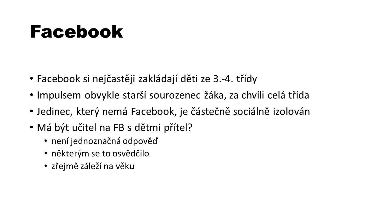 Facebook Facebook si nejčastěji zakládají děti ze 3.-4.