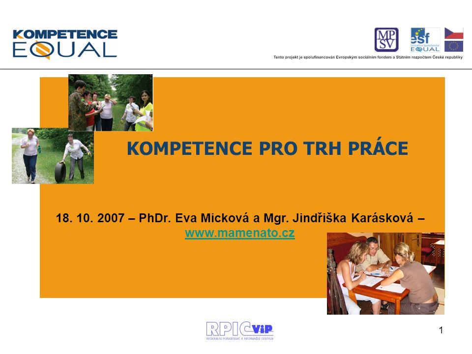 1 18. 10. 2007 – PhDr. Eva Micková a Mgr. Jindřiška Karásková – www.mamenato.cz www.mamenato.cz KOMPETENCE PRO TRH PRÁCE