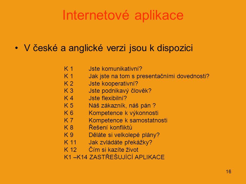 16 Internetové aplikace V české a anglické verzi jsou k dispozici K 1Jste komunikativní? K 1Jak jste na tom s presentačními dovednosti? K 2Jste kooper