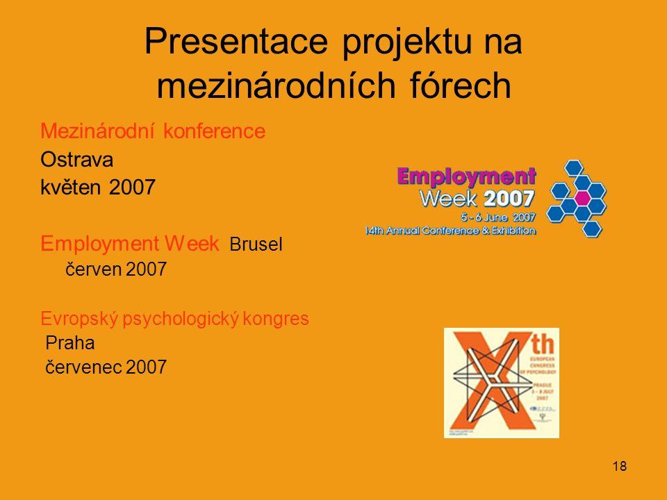 18 Presentace projektu na mezinárodních fórech Mezinárodní konference Ostrava květen 2007 Employment Week Brusel červen 2007 Evropský psychologický ko