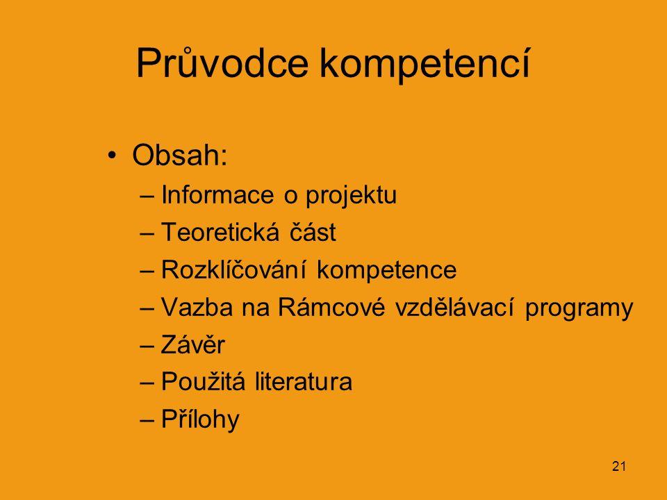 21 Průvodce kompetencí Obsah: –Informace o projektu –Teoretická část –Rozklíčování kompetence –Vazba na Rámcové vzdělávací programy –Závěr –Použitá literatura –Přílohy