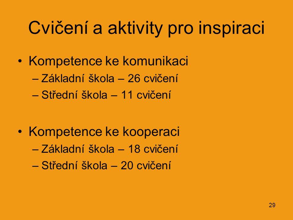 29 Cvičení a aktivity pro inspiraci Kompetence ke komunikaci –Základní škola – 26 cvičení –Střední škola – 11 cvičení Kompetence ke kooperaci –Základní škola – 18 cvičení –Střední škola – 20 cvičení