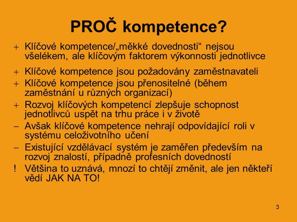 """3 PROČ kompetence?  Klíčové kompetence/""""měkké dovednosti"""" nejsou všelékem, ale klíčovým faktorem výkonnosti jednotlivce  Klíčové kompetence jsou pož"""