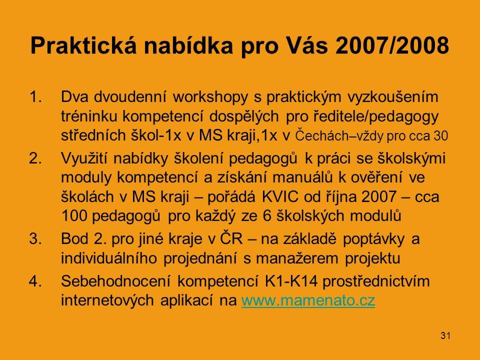 31 Praktická nabídka pro Vás 2007/2008 1.Dva dvoudenní workshopy s praktickým vyzkoušením tréninku kompetencí dospělých pro ředitele/pedagogy středních škol-1x v MS kraji,1x v Čechách–vždy pro cca 30 2.Využití nabídky školení pedagogů k práci se školskými moduly kompetencí a získání manuálů k ověření ve školách v MS kraji – pořádá KVIC od října 2007 – cca 100 pedagogů pro každý ze 6 školských modulů 3.Bod 2.
