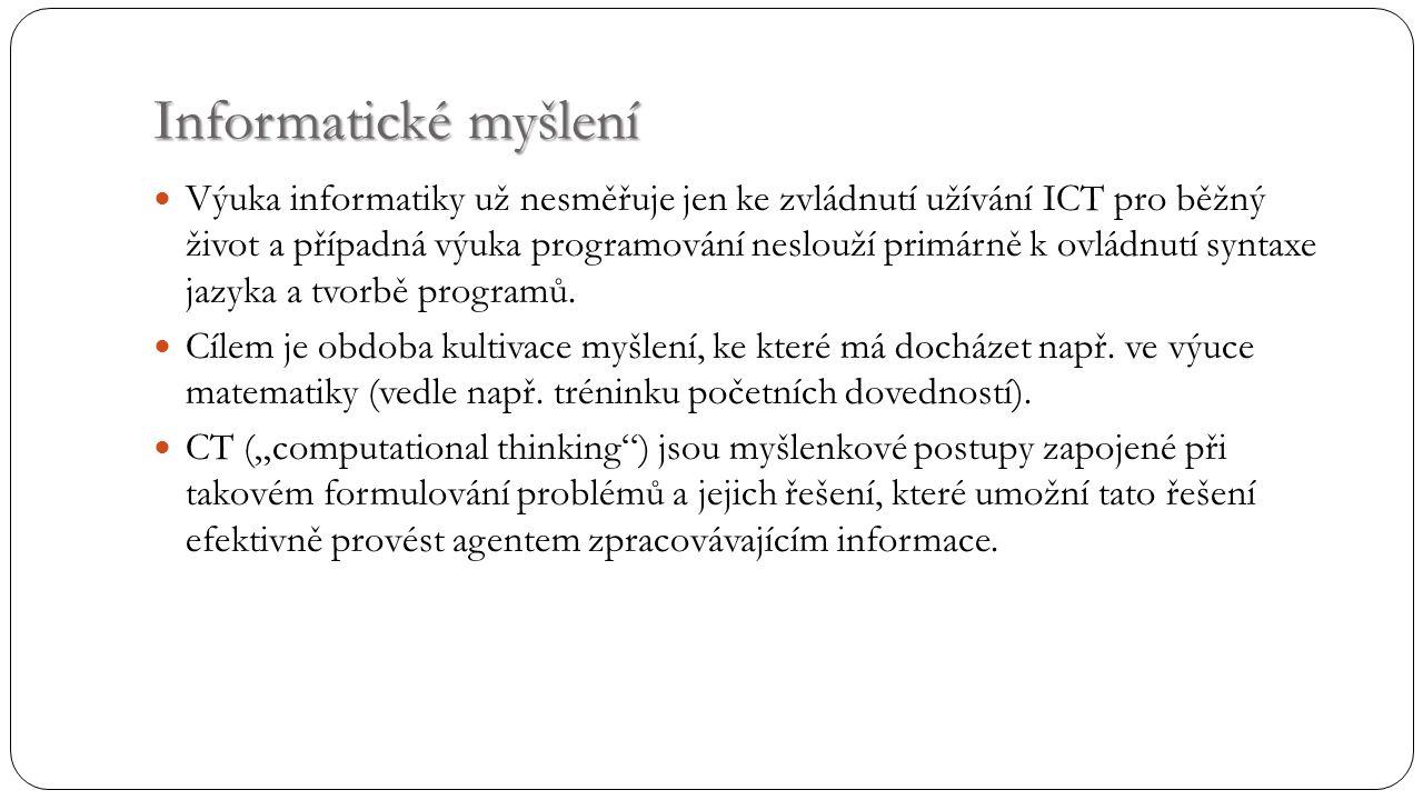 Informatické myšlení Výuka informatiky už nesměřuje jen ke zvládnutí užívání ICT pro běžný život a případná výuka programování neslouží primárně k ovládnutí syntaxe jazyka a tvorbě programů.