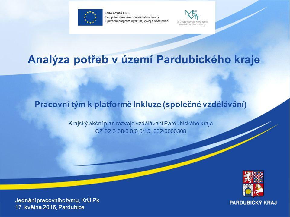 Analýza potřeb v území Pardubického kraje Pracovní tým k platformě Inkluze (společné vzdělávání) Krajský akční plán rozvoje vzdělávání Pardubického kraje CZ.02.3.68/0.0/0.0/15_002/0000308 Jednání pracovního týmu, KrÚ Pk 17.