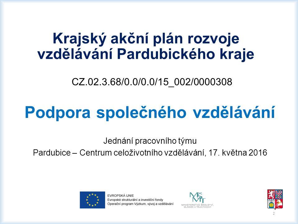 CZ.02.3.68/0.0/0.0/15_002/0000308 Podpora společného vzdělávání Jednání pracovního týmu Pardubice – Centrum celoživotního vzdělávání, 17. května 2016