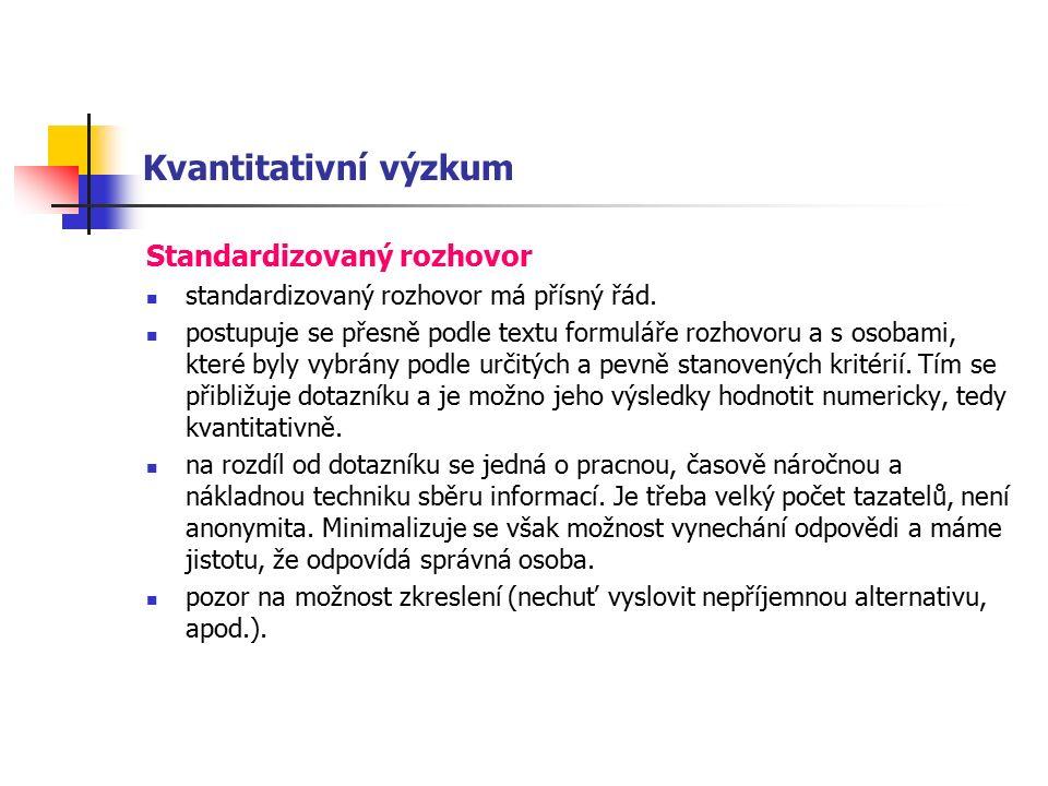 Kvantitativní výzkum Standardizovaný rozhovor standardizovaný rozhovor má přísný řád.