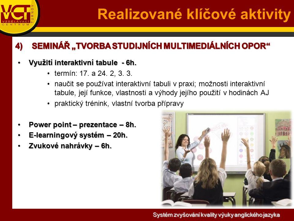 Systém zvyšování kvality výuky anglického jazyka Realizované klíčové aktivity Využití interaktivní tabule - 6h.Využití interaktivní tabule - 6h.