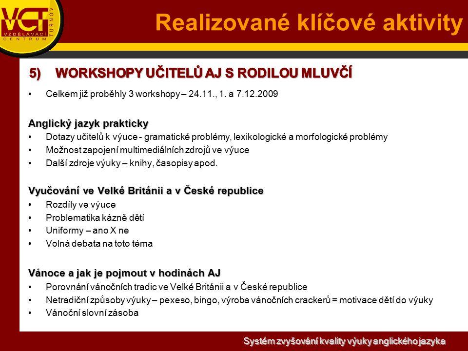 Systém zvyšování kvality výuky anglického jazyka Realizované klíčové aktivity Celkem již proběhly 3 workshopy – 24.11., 1.