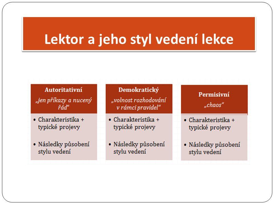 Lektor a jeho styl vedení lekce