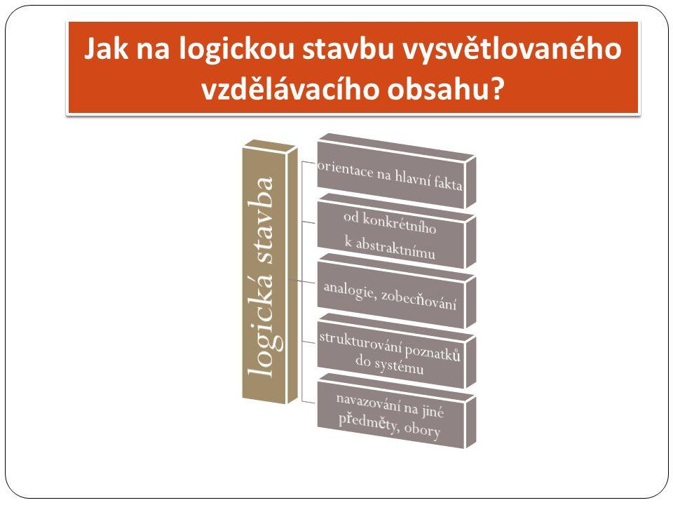 Jak na logickou stavbu vysvětlovaného vzdělávacího obsahu?