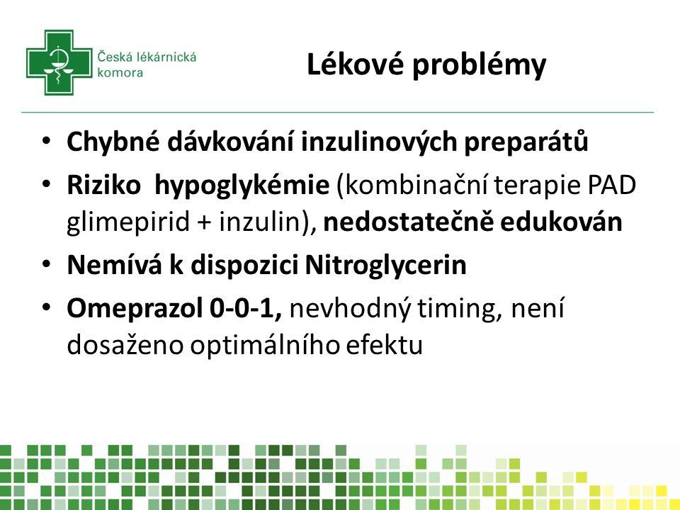 Lékové problémy Chybné dávkování inzulinových preparátů Riziko hypoglykémie (kombinační terapie PAD glimepirid + inzulin), nedostatečně edukován Nemívá k dispozici Nitroglycerin Omeprazol 0-0-1, nevhodný timing, není dosaženo optimálního efektu