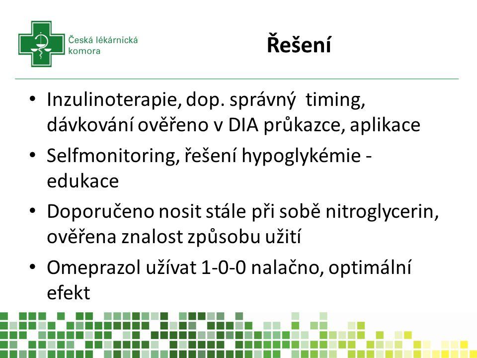 Řešení Inzulinoterapie, dop. správný timing, dávkování ověřeno v DIA průkazce, aplikace Selfmonitoring, řešení hypoglykémie - edukace Doporučeno nosit
