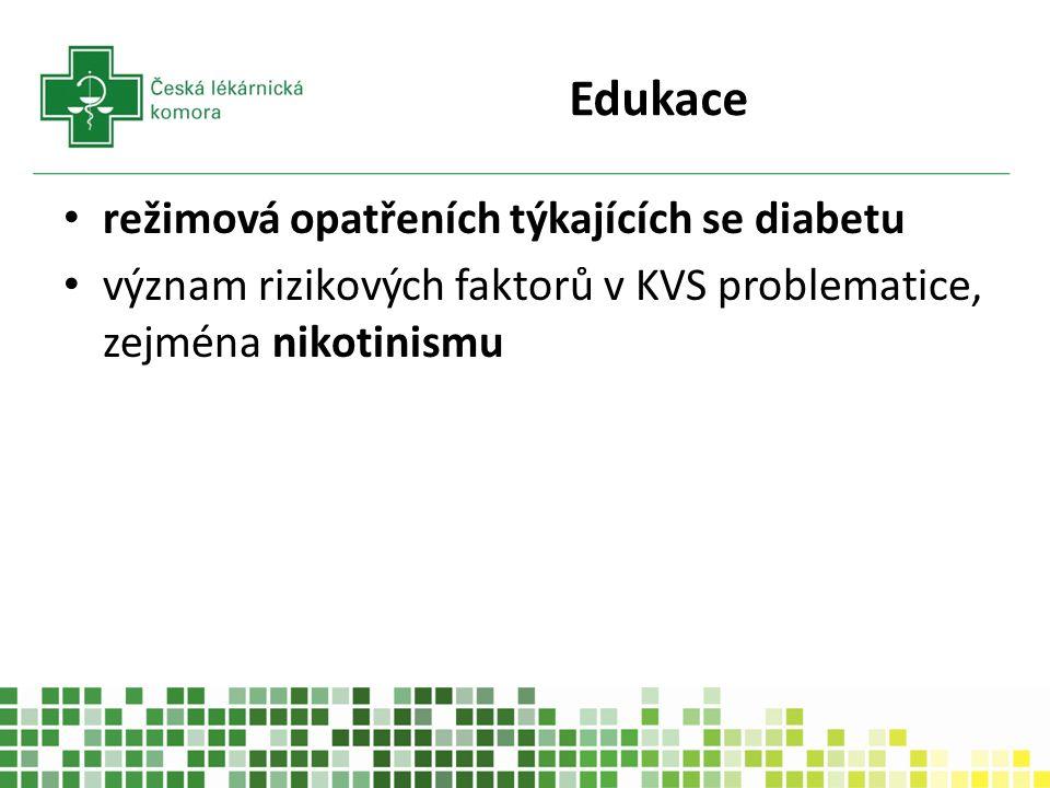 Edukace režimová opatřeních týkajících se diabetu význam rizikových faktorů v KVS problematice, zejména nikotinismu
