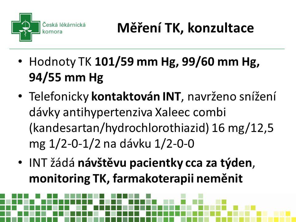 Měření TK, konzultace Hodnoty TK 101/59 mm Hg, 99/60 mm Hg, 94/55 mm Hg Telefonicky kontaktován INT, navrženo snížení dávky antihypertenziva Xaleec combi (kandesartan/hydrochlorothiazid) 16 mg/12,5 mg 1/2-0-1/2 na dávku 1/2-0-0 INT žádá návštěvu pacientky cca za týden, monitoring TK, farmakoterapii neměnit
