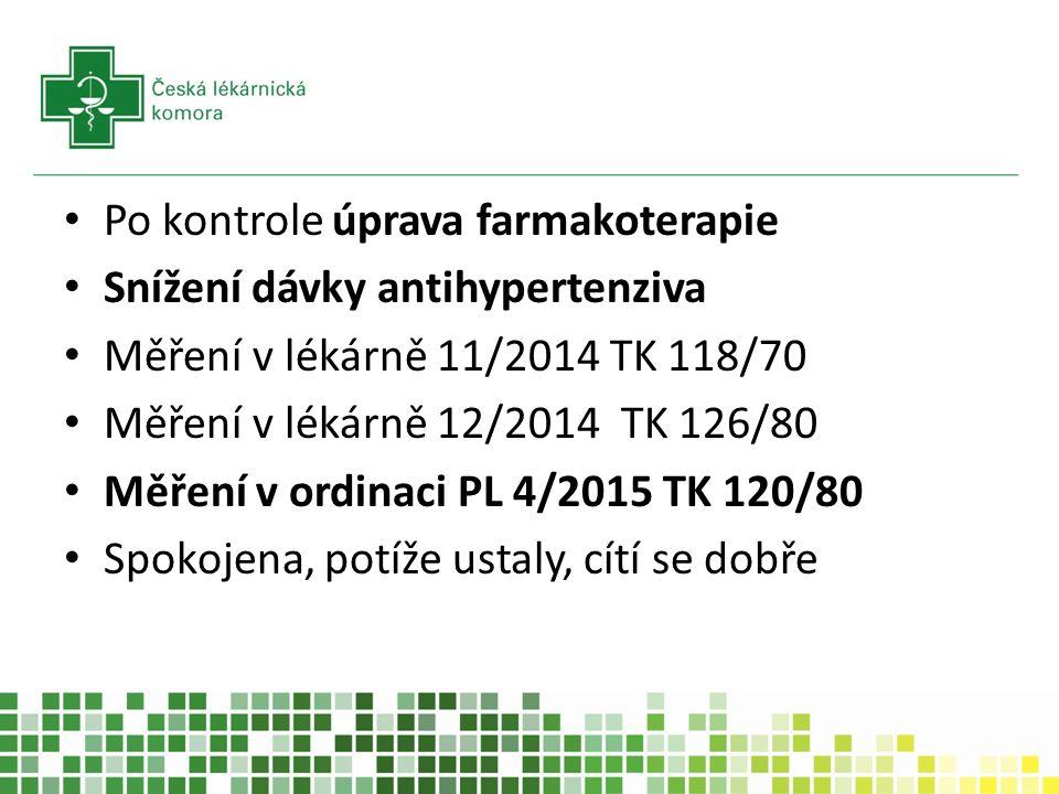 Po kontrole úprava farmakoterapie Snížení dávky antihypertenziva Měření v lékárně 11/2014 TK 118/70 Měření v lékárně 12/2014 TK 126/80 Měření v ordinaci PL 4/2015 TK 120/80 Spokojena, potíže ustaly, cítí se dobře