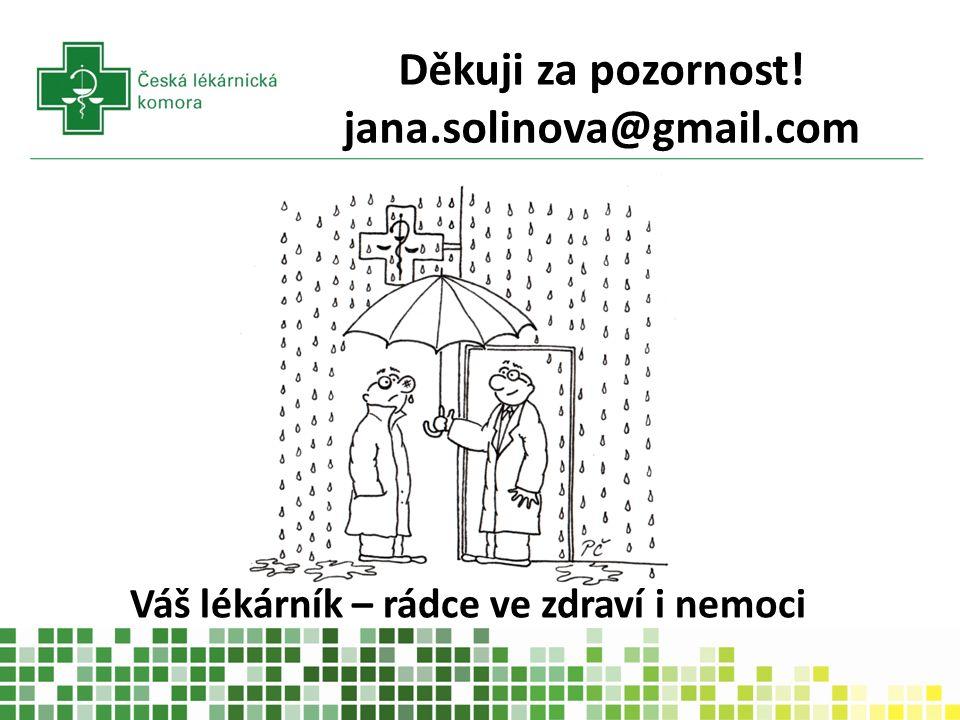 Váš lékárník – rádce ve zdraví i nemoci Děkuji za pozornost! jana.solinova@gmail.com