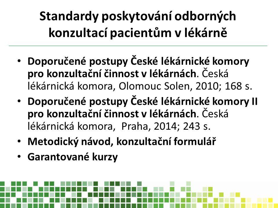 Standardy poskytování odborných konzultací pacientům v lékárně Doporučené postupy České lékárnické komory pro konzultační činnost v lékárnách. Česká l