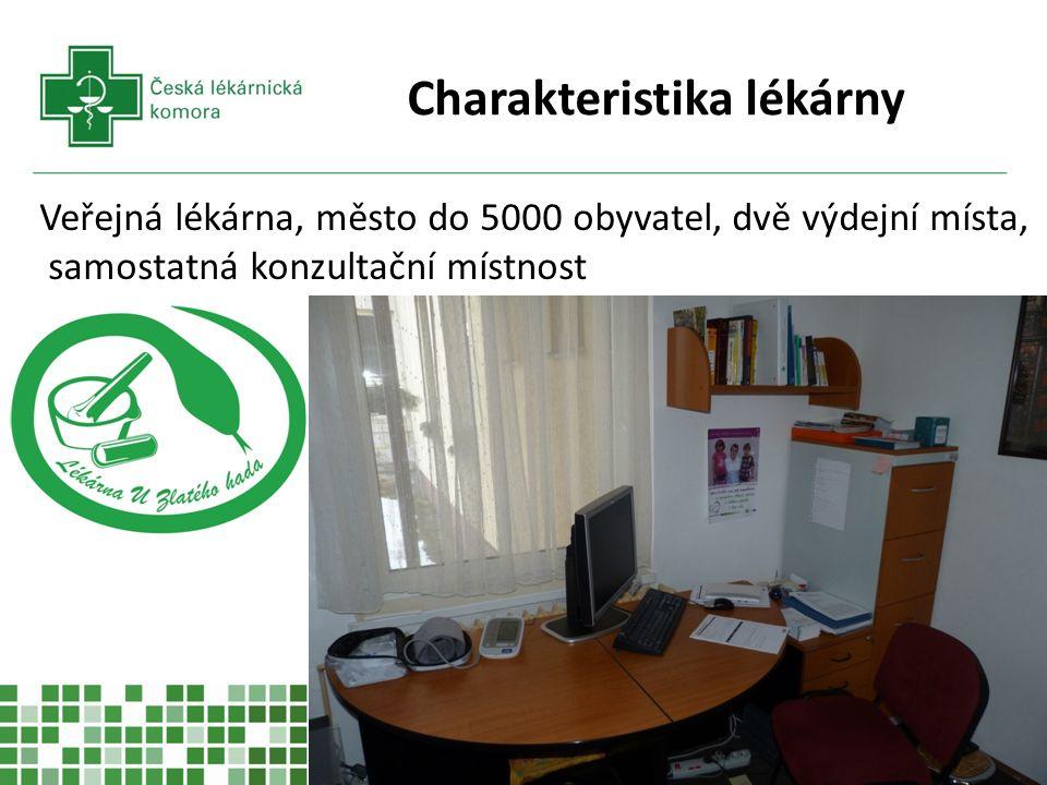 Charakteristika lékárny Veřejná lékárna, město do 5000 obyvatel, dvě výdejní místa, samostatná konzultační místnost