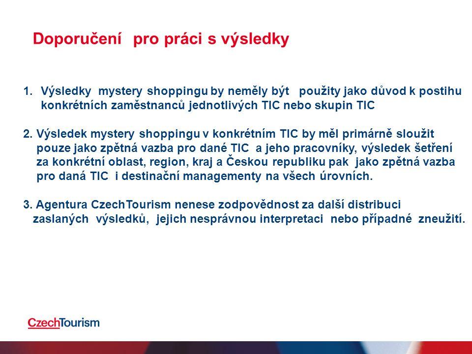 1.Výsledky mystery shoppingu by neměly být použity jako důvod k postihu konkrétních zaměstnanců jednotlivých TIC nebo skupin TIC 2.