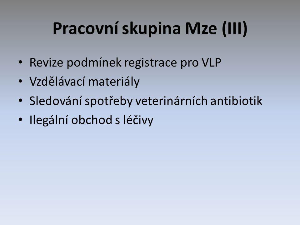 Pracovní skupina Mze (III) Revize podmínek registrace pro VLP Vzdělávací materiály Sledování spotřeby veterinárních antibiotik Ilegální obchod s léčiv
