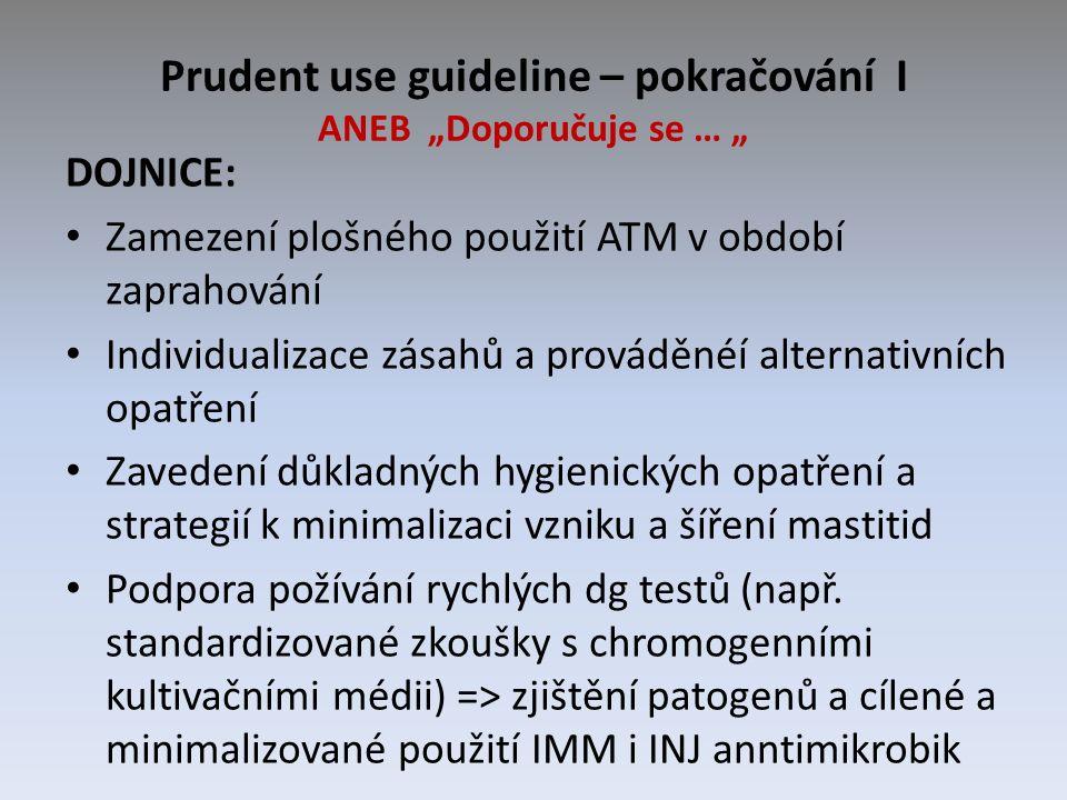 """Prudent use guideline – pokračování I ANEB """"Doporučuje se … """" DOJNICE: Zamezení plošného použití ATM v období zaprahování Individualizace zásahů a pro"""