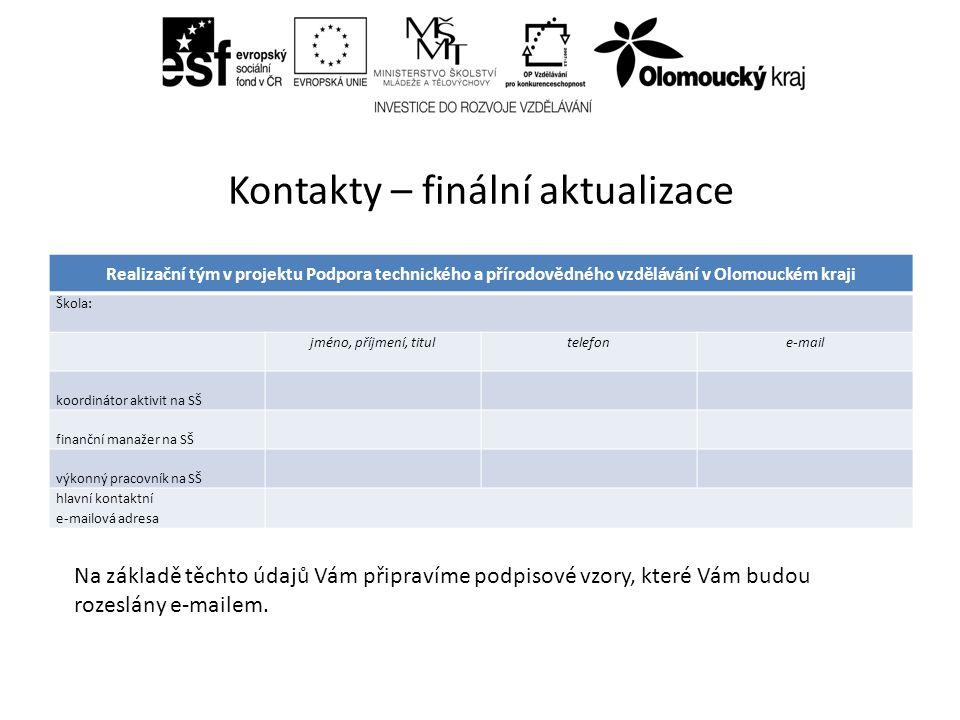 Kontakty – finální aktualizace Realizační tým v projektu Podpora technického a přírodovědného vzdělávání v Olomouckém kraji Škola: jméno, příjmení, titultelefone-mail koordinátor aktivit na SŠ finanční manažer na SŠ výkonný pracovník na SŠ hlavní kontaktní e-mailová adresa Na základě těchto údajů Vám připravíme podpisové vzory, které Vám budou rozeslány e-mailem.