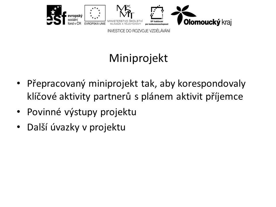 Miniprojekt Přepracovaný miniprojekt tak, aby korespondovaly klíčové aktivity partnerů s plánem aktivit příjemce Povinné výstupy projektu Další úvazky v projektu