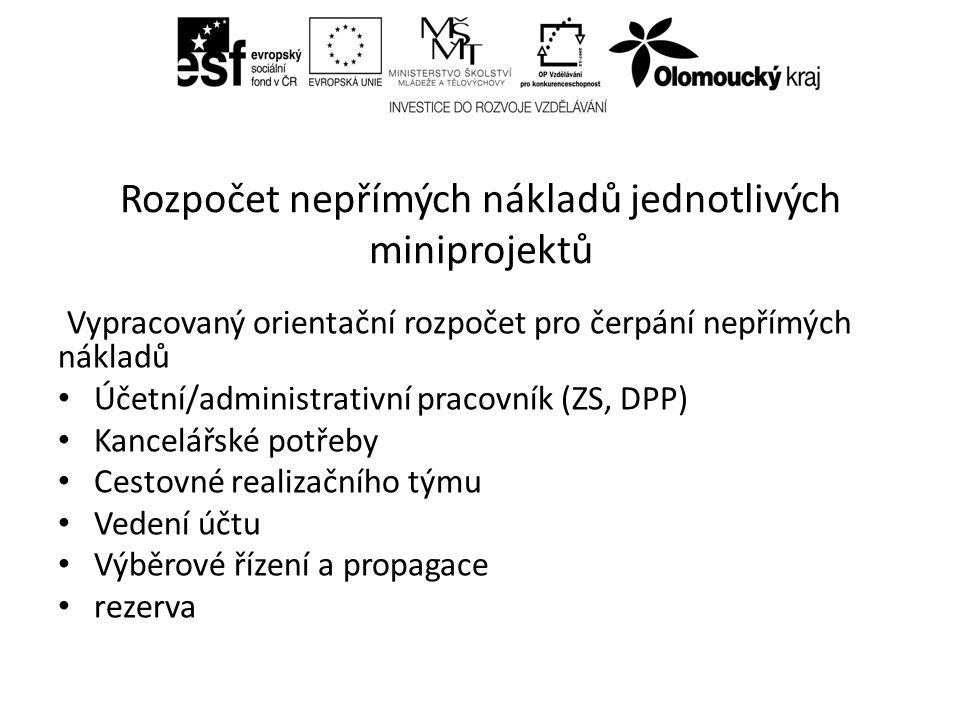 Rozpočet nepřímých nákladů jednotlivých miniprojektů Vypracovaný orientační rozpočet pro čerpání nepřímých nákladů Účetní/administrativní pracovník (ZS, DPP) Kancelářské potřeby Cestovné realizačního týmu Vedení účtu Výběrové řízení a propagace rezerva