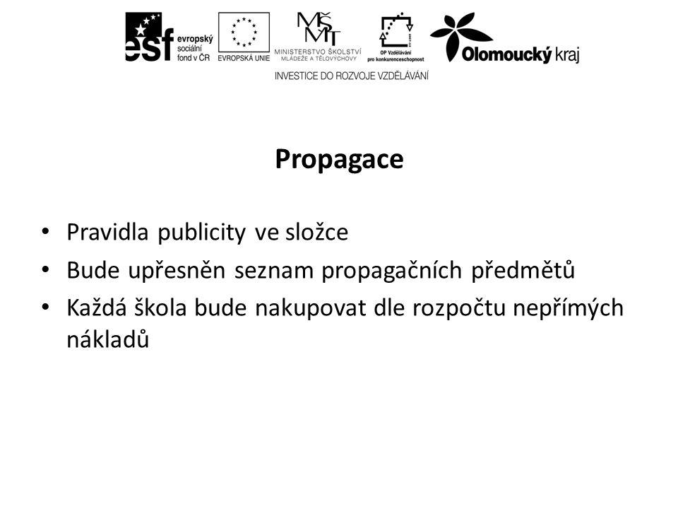 Propagace Pravidla publicity ve složce Bude upřesněn seznam propagačních předmětů Každá škola bude nakupovat dle rozpočtu nepřímých nákladů