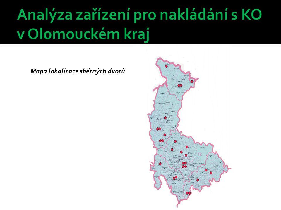 Mapa lokalizace sběrných dvorů