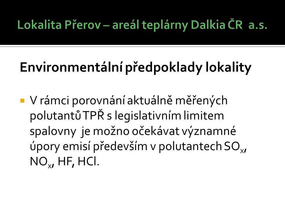 Environmentální předpoklady lokality  V rámci porovnání aktuálně měřených polutantů TPŘ s legislativním limitem spalovny je možno očekávat významné úpory emisí především v polutantech SO x, NO x, HF, HCl.