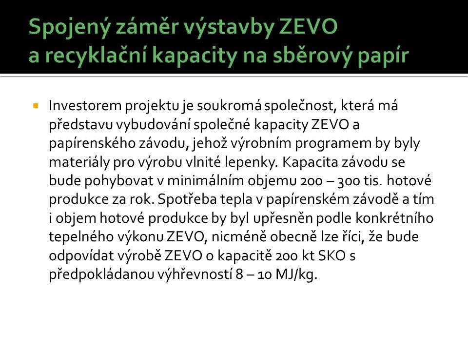  Investorem projektu je soukromá společnost, která má představu vybudování společné kapacity ZEVO a papírenského závodu, jehož výrobním programem by byly materiály pro výrobu vlnité lepenky.