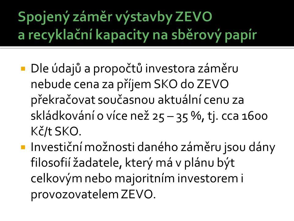  Dle údajů a propočtů investora záměru nebude cena za příjem SKO do ZEVO překračovat současnou aktuální cenu za skládkování o více než 25 – 35 %, tj.