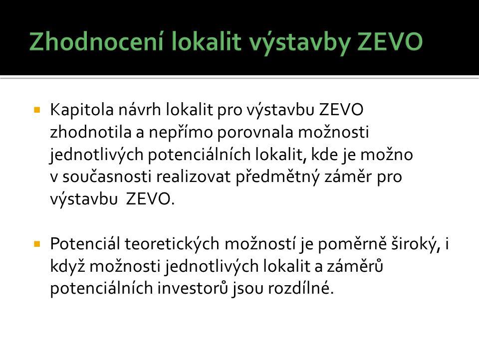  Kapitola návrh lokalit pro výstavbu ZEVO zhodnotila a nepřímo porovnala možnosti jednotlivých potenciálních lokalit, kde je možno v současnosti realizovat předmětný záměr pro výstavbu ZEVO.