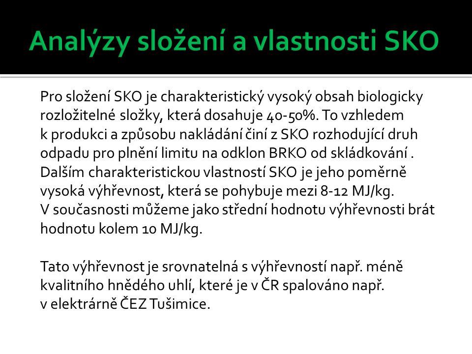 Pro složení SKO je charakteristický vysoký obsah biologicky rozložitelné složky, která dosahuje 40-50%. To vzhledem k produkci a způsobu nakládání čin