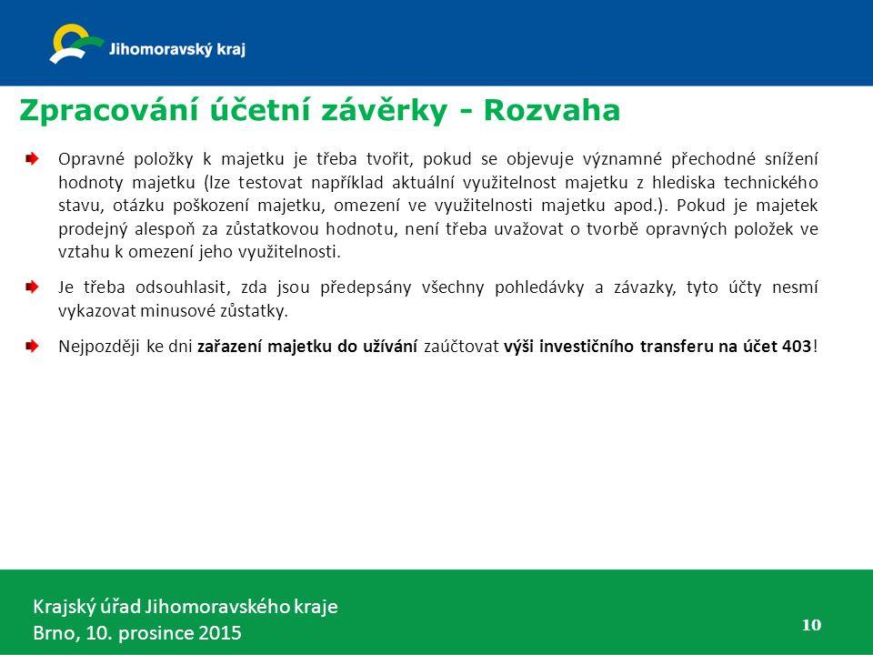 Krajský úřad Jihomoravského kraje Brno, 10. prosince 2015 10 Zpracování účetní závěrky - Rozvaha Opravné položky k majetku je třeba tvořit, pokud se o