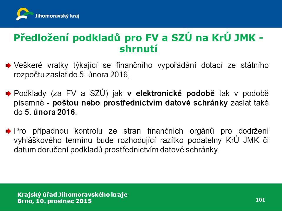 Krajský úřad Jihomoravského kraje Brno, 10. prosinec 2015 101 Veškeré vratky týkající se finančního vypořádání dotací ze státního rozpočtu zaslat do 5
