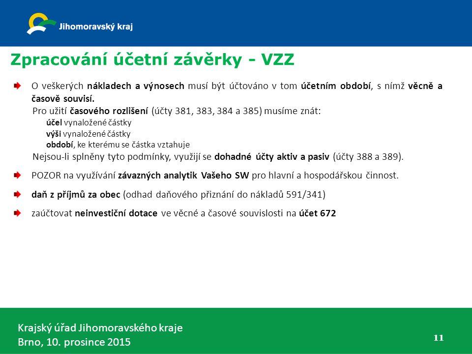 Krajský úřad Jihomoravského kraje Brno, 10. prosince 2015 11 Zpracování účetní závěrky - VZZ O veškerých nákladech a výnosech musí být účtováno v tom