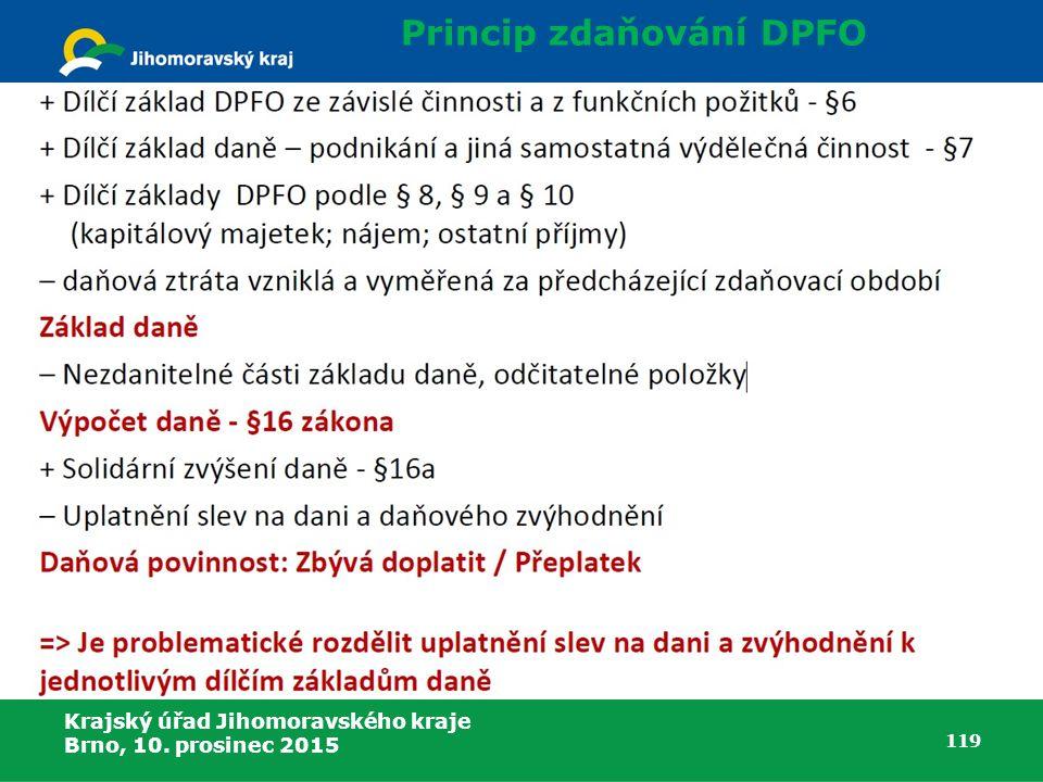 Krajský úřad Jihomoravského kraje Brno, 10. prosinec 2015 119 Princip zdaňování DPFO
